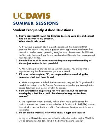 Student Frequently Asked Questions - Summer Sessions - UC Davis