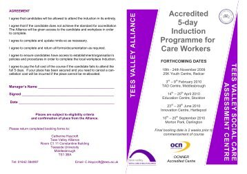 Induction Programme for Care Workers - Tees Valley Alliance