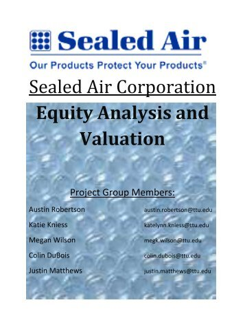 Sealed Air Corporation Equity Analysis and Valuation - Mark Moore