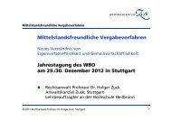 Mittelstandsfreundliche Vergabeverfahren Jahrestagung des WBO am ...