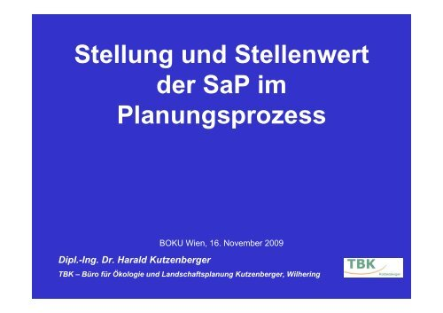 Stellenwert im Planungsprozess (DI Harald Kutzenberger)
