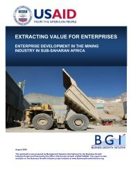 EXTRACTING VALUE FOR ENTERPRISES - Economic Growth - usaid
