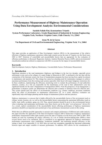 Performance Measurement of Highway Maintenance ... - CHAMPS