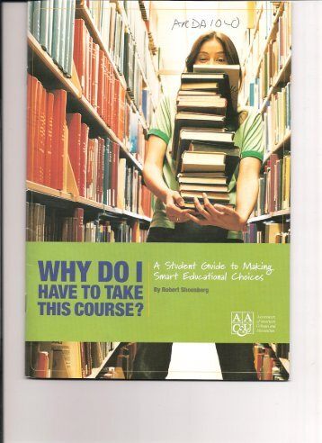Why Do I Have To Take This Course?, by Robert Shoenberg