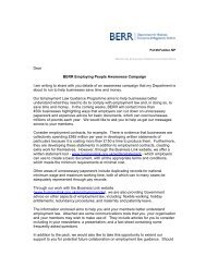 Dear BERR Employing People Awareness Campaign I am writing to ...