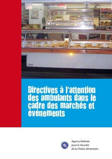Directives à l'attention des ambulants dans le cadre des ... - FAVV