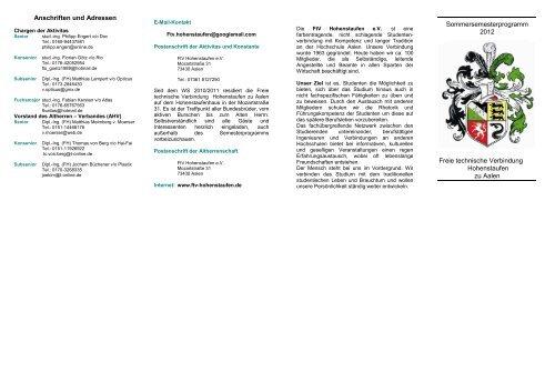 Anschriften und Adressen Sommersemesterprogramm 2012 Freie ...