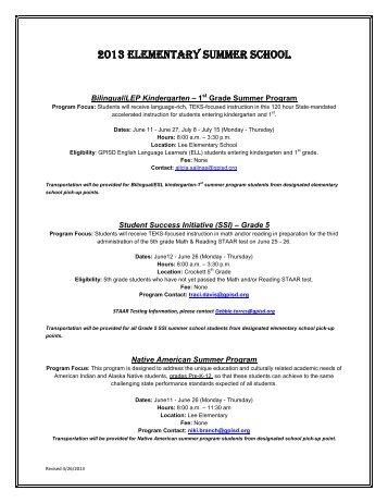 2013 Elementary Summer School - Grand Prairie Independent ...