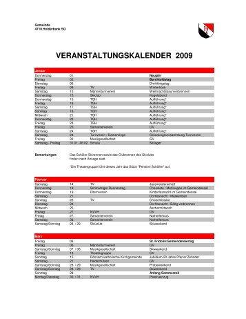 VERANSTALTUNGSKALENDER 2009 - Holderbank SO
