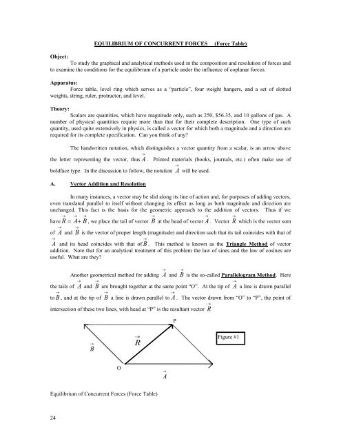 Equilibrium of Concurrent Forces (Force Table) pdf - Physics