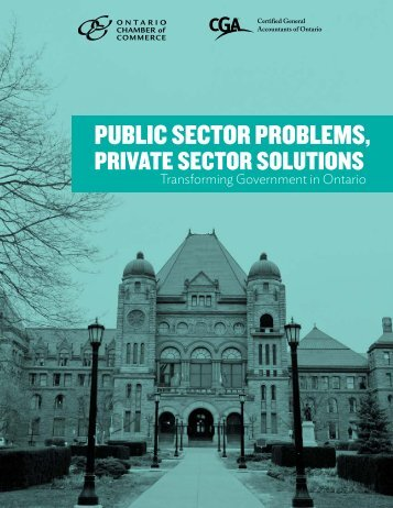 PUBLIC SECTOR PROBLEMS, - The Ontario Chamber of Commerce