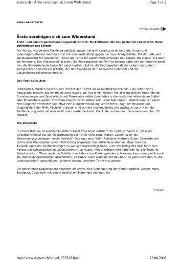 Ärzte vereinigen sich zum Widerstand Page 1 of 2 espace.ch - Ärzte ...