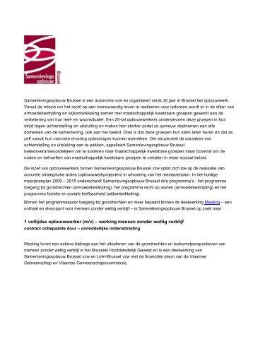 1 voltijdse opbouwwerker (m/v) - Samenlevingsopbouw Brussel