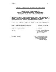 Specification - Jaipur Vidyut Vitran Nigam Limited