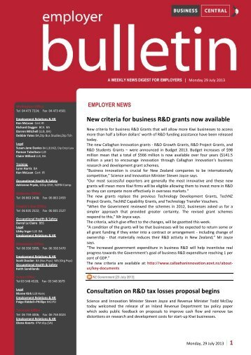 Employer Bulletin - 29 July 2013