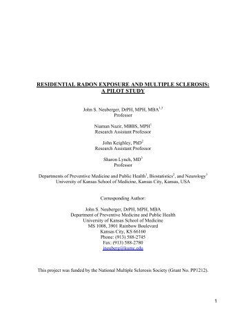 residential radon exposure and multiple sclerosis: a pilot study - aarst