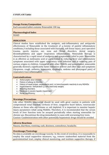 COXFLAM Tablet - Lomus Pharmaceuticals Pvt. Ltd.
