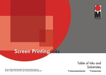 Table of Inks and Substrates for Screen Printing Inks