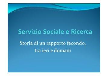 Servizio Sociale e Ricerca - Scienze della Formazione