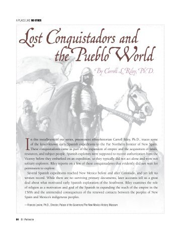 Lost Conquistadors of the Pueblo World - El Palacio Magazine