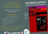 PRIX FERNAND PELLOUTIER 2013 - Centre de Culture Populaire