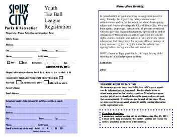 Youth tee ball registration form city of sioux city iowa