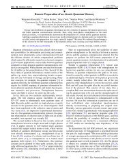 Remote Preparation of an Atomic Quantum Memory - Experimental ...