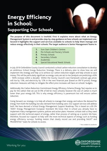Energy Efficiency in School: - Oxfordshire County Council