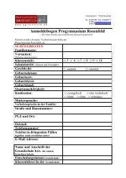 Formular Schüleranmeldung - Progymnasium Rosenfeld