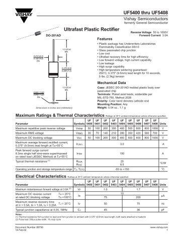 UF5400 thru UF5408 Ultrafast Plastic Rectifier