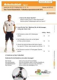 Arbeitsblatt - Sport - Deutsch lernen mit vitamin de