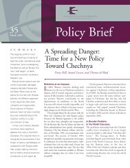 A Spreading Danger: Time for a New Policy Toward Chechnya