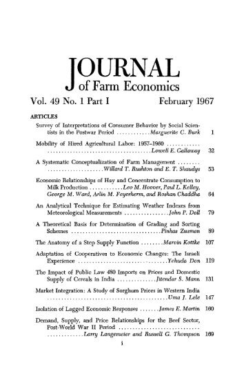 Vol. 49 No. 1 Part I February 1967 - American Journal of Agricultural ...