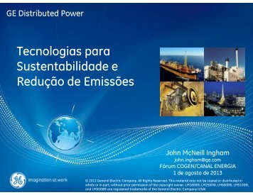 Tecnologias para Sustentabilidade e Redução de Emissões - Cogen