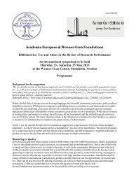 Academia Europaea & Wenner-Gren Foundations