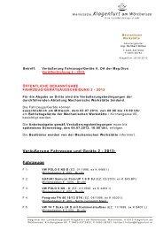 Veräußerung Fahrzeuge und Geräte 2 - 2013 - Magistrat Klagenfurt