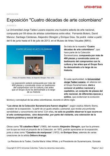 """Exposición """"Cuatro décadas de arte colombiano"""" - Noticias - Universia"""