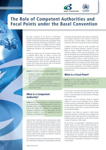 The Role of Competent Authorities and Focal ... - Basel Convention