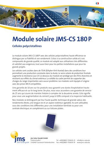 Module solaire JMS-CS 180P - jms Solar Handel GmbH