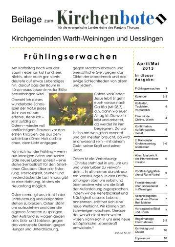 April / Mai 2013 - Evangelische Kirchgemeinde Uesslingen und ...