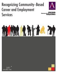 Recognizing Community–Based Career and Employment Services