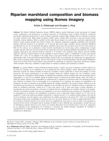 Riparian marshland composition and biomass mapping using ...