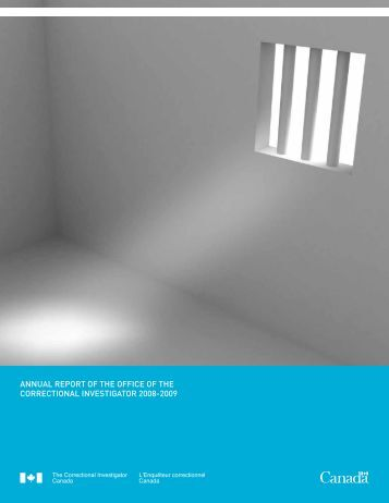 annual report of the office of the correctional investigator 2008-2009