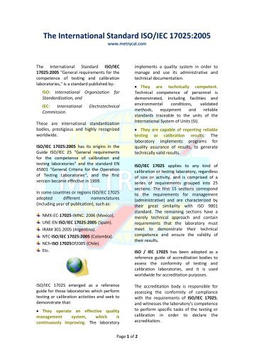 1. The International Standard ISO/IEC 17025:2005