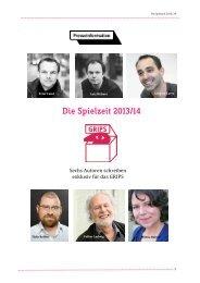 Pressemappe für 2013/14 zum kostenlosen ... - GRIPS Theater