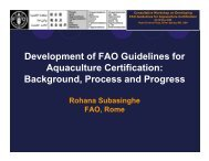 Development of FAO Guidelines for Aquaculture Certification ...