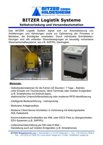 Logistiksysteme - Bitzer Wiegetechnik GmbH