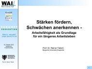 Prof. Dr. Rainer Tielsch Stärken fördern, Schwächen anerkennen