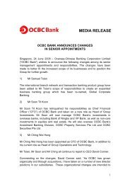 OCBC Bank announces changes in senior appointments