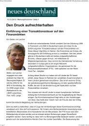 Neues Deutschland - Steuer gegen Armut